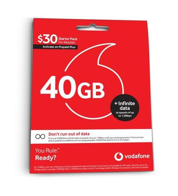 Cellmate Vodafone 30 Voice SIM Sleeve Prepaid Refresh Nov
